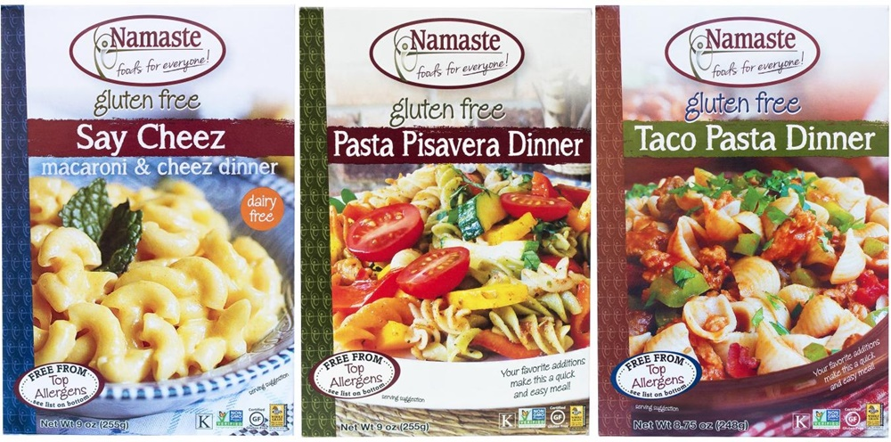 Namaste Pasta Dinners - gluten-free, dairy-free, top allergen-free boxed meals (Say Cheez, Pasta Pisavera, & Taco)