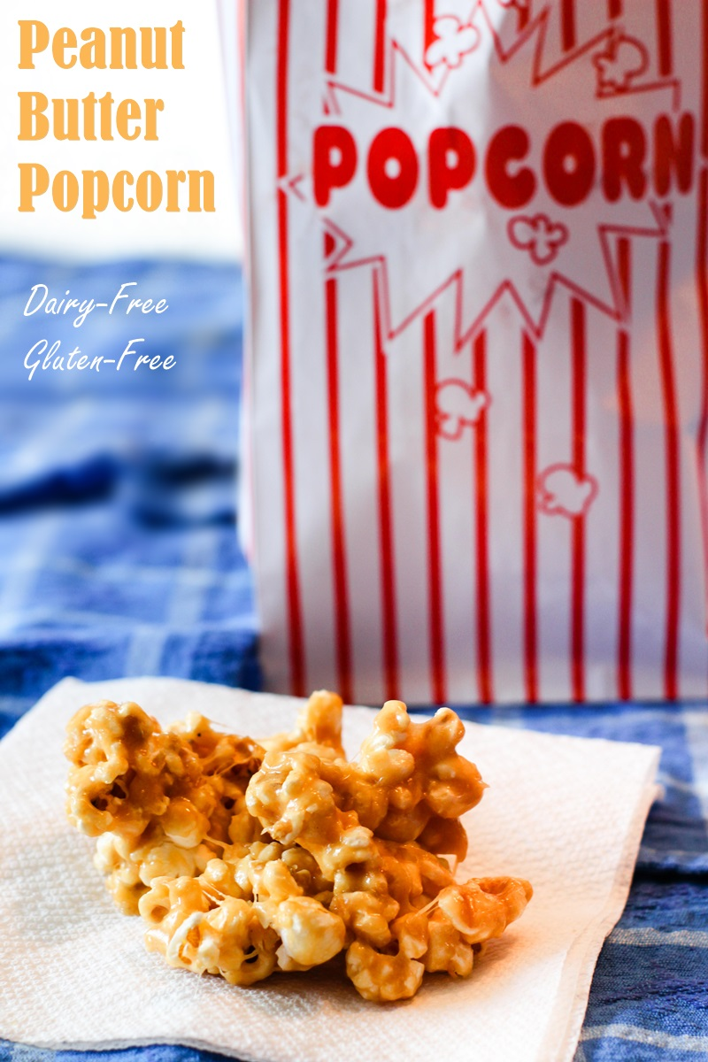 Sweet Peanut Butter Popcorn Recipe (dairy-free & gluten-free version with vegan option) - instructions for gooey, baked, and bars! #peanutbutterpopcorn