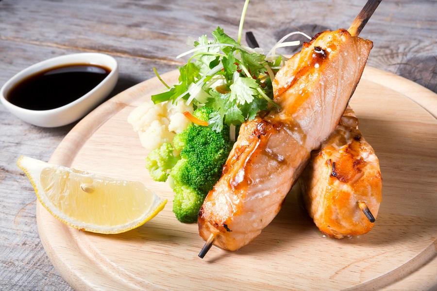 Grilled Teriyaki Salmon Skewers Recipe - dairy-free, gluten-free, nut-free