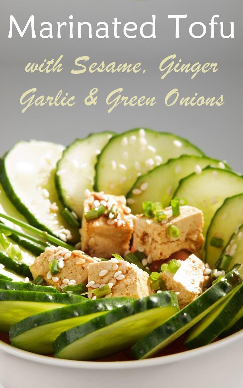Vegan Sesame Ginger Tofu Recipe - marinated and enjoyed fresh or baked