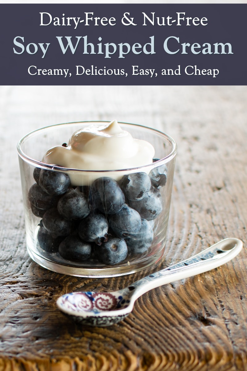 Dairy-Free Soy Whipped Cream Recipe - simple dessert topping with basic ingredients, takes just 5 minutes! Nut-free, gluten-free, vegan-friendly.