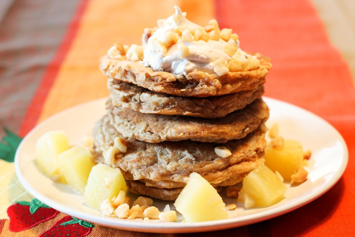 Healthy Dairy-Free Tropical Pancakes Recipe (with Vegan Option)