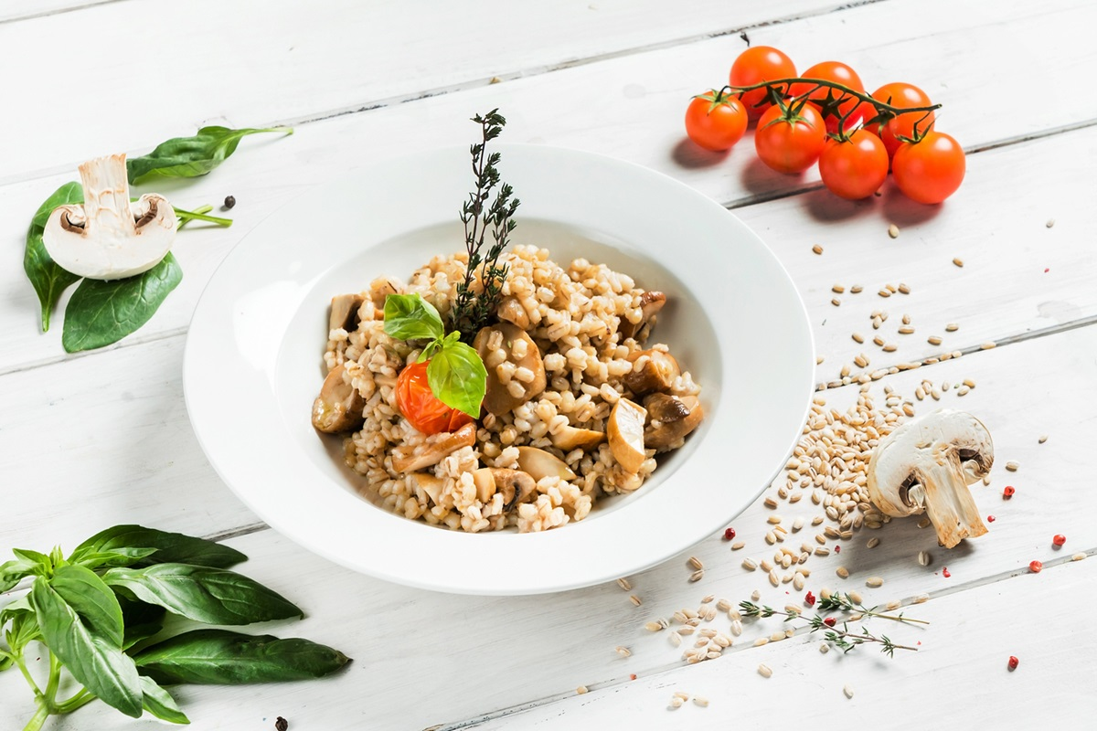 Mushroom Barley Pilaf Recipe - vegan, plant-based, dairy-free, nut-free, soy-free, oil-free, and delicious!