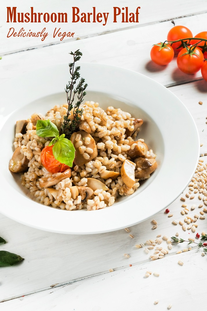 Mushroom Barley Pilaf Recipe - vegan, plant-based, dairy-free, nut-free, soy-free and delicious!
