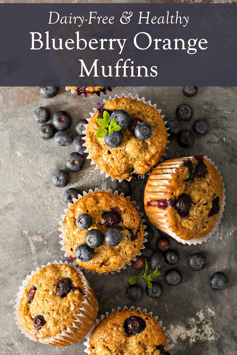 Healthy Blueberry Orange Muffins Recipe made with Whole Grain Goodness. Uses whole wheat flour, spelt flour, or gluten-free option. Dairy-free, nut-free, and has egg-free / vegan options.