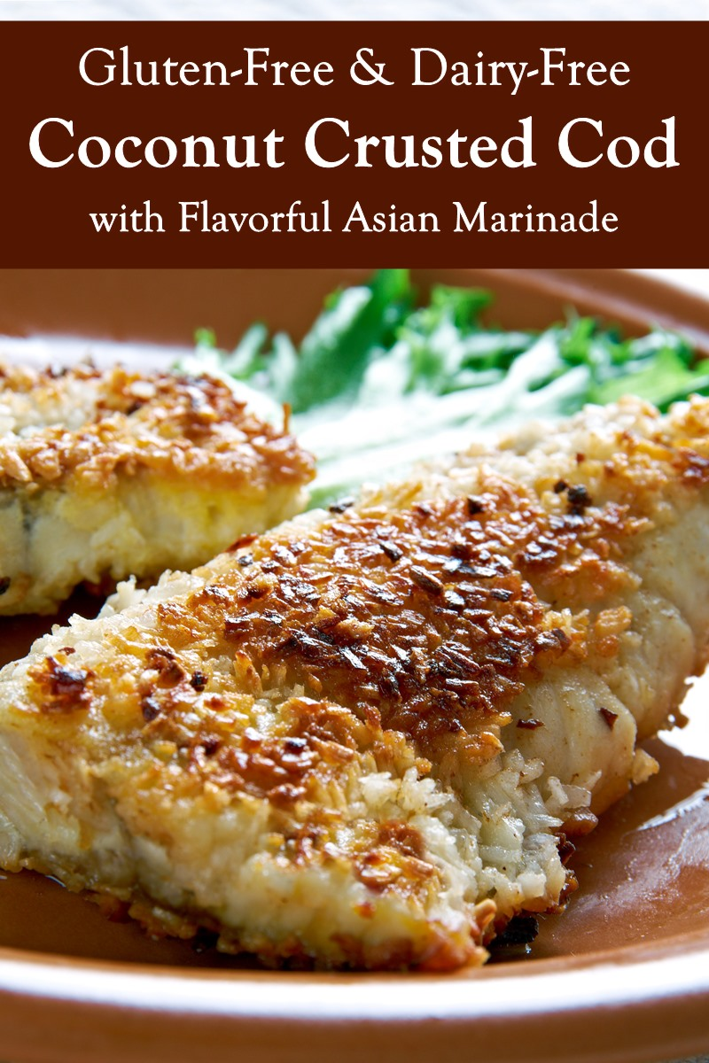 Asian Coconut Crusted Cod Recipe - dairy-free, gluten-free, nut-free, and peanut-free - easy entree that can also suit keto diets.