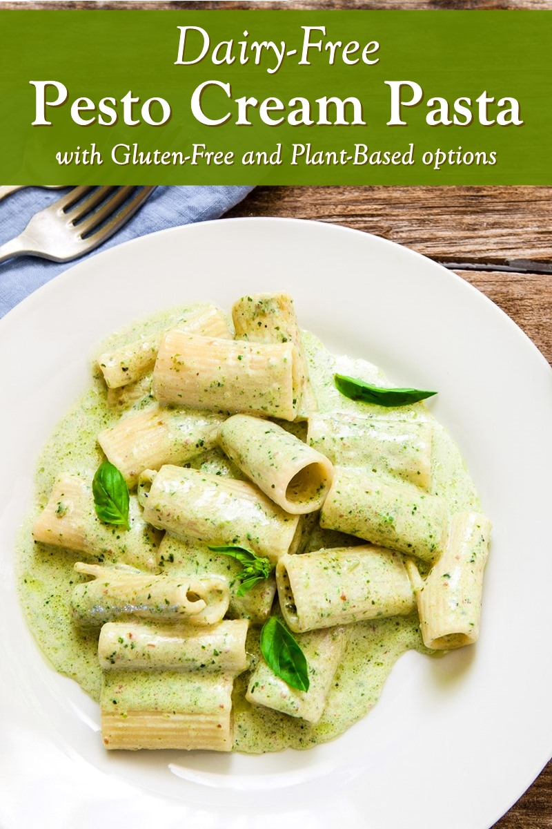 Dairy-free Pesto Cream Pasta Recipe - soy-free and plant-based with gluten-free and vegan options. 30 minute weeknight meal! Full of flavor, but cheese-less.