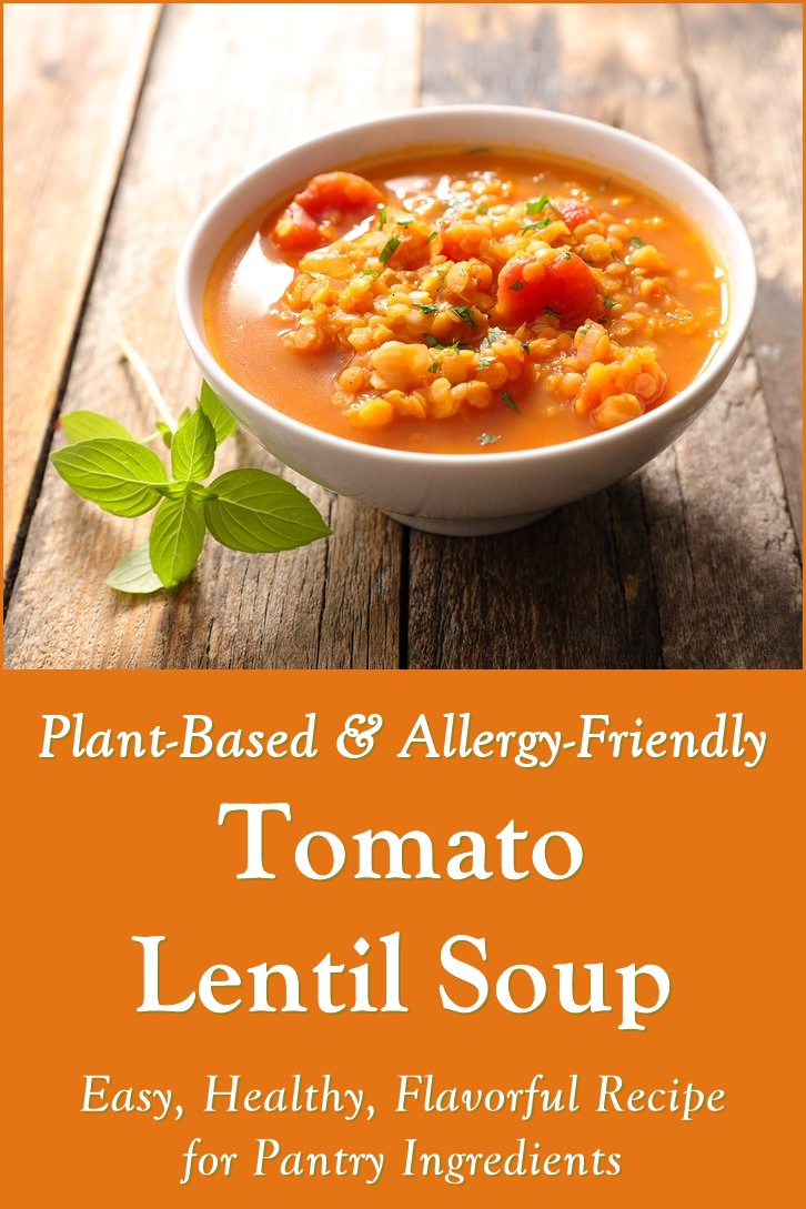 Plant-Based Tomato Lentil Soup Recipe made with canned and dried goods. Purely pantry option. Vegan, dairy-free, gluten-free, and top allergen-free.
