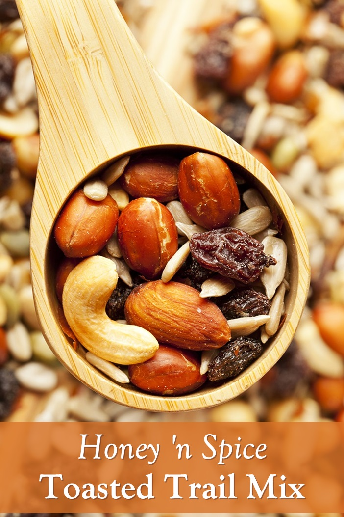 Honey Toasted Trail Mix Recipe with Mixed Nuts, Seeds, and Warm Spices. Plant-Based, Dairy-Free, Gluten-Free Snack.