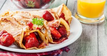 Dairy-Free Crepes Recipe with Strawberry-Apple Filling & Fresh Strawberry Sauce