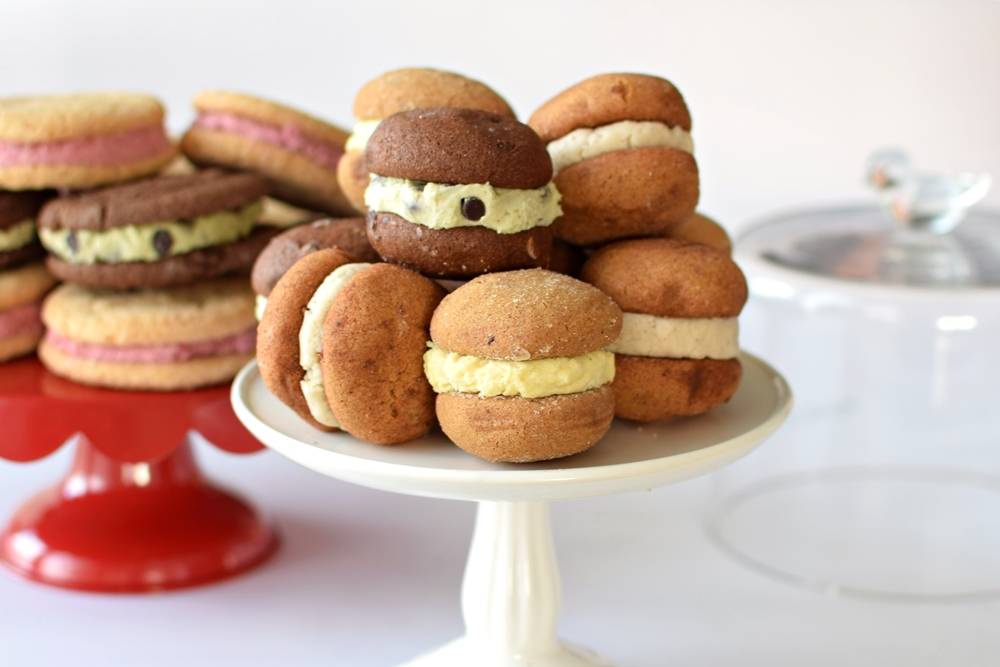 Vegan Gluten-Free Nut-Free Sandwich Cookies with assorted, easy, homemade dairy-free fillings!