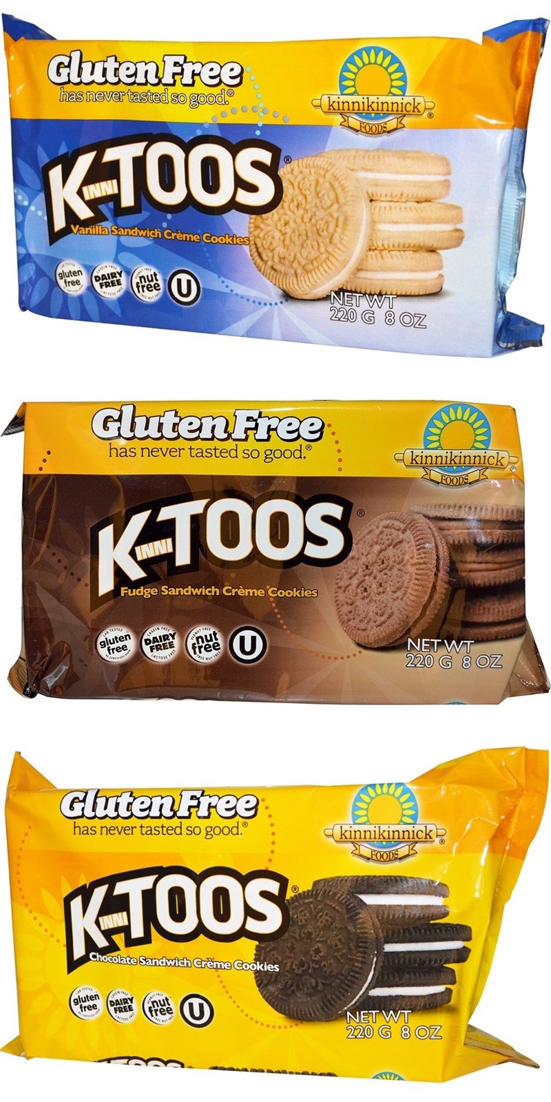 KinniToos Sandwich Creme Cookies (Review) - Gluten-free, Dairy-free, Nut-free, Vegan (3 flavors!)