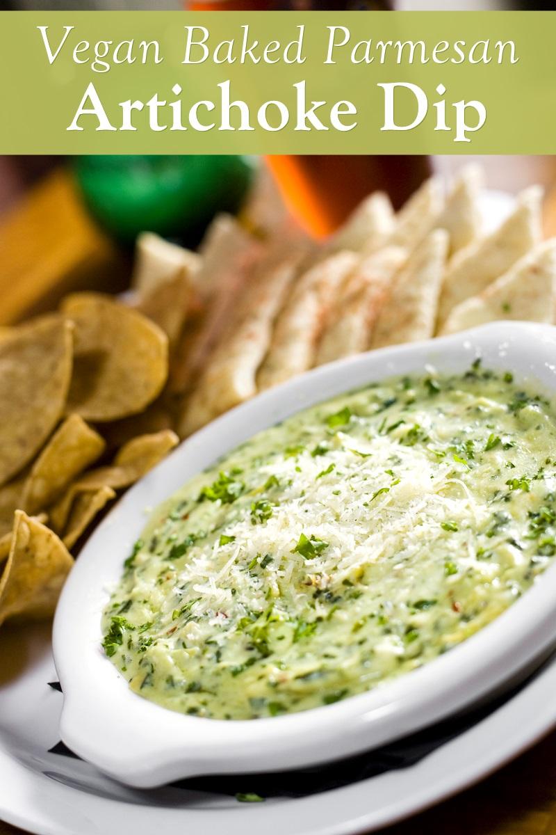 Vegan Hot Parmesan Artichoke Dip Recipe (plant-based, dairy-free, and gluten-free)
