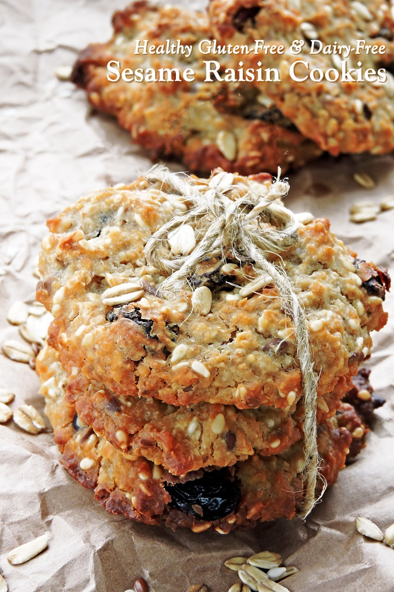 Sesame Raisin Breakfast Cookies Recipe - Naturally Vegan, Gluten-Free, Allergy-Friendly, and Free of Added Sugars (Fruit-Sweetened)