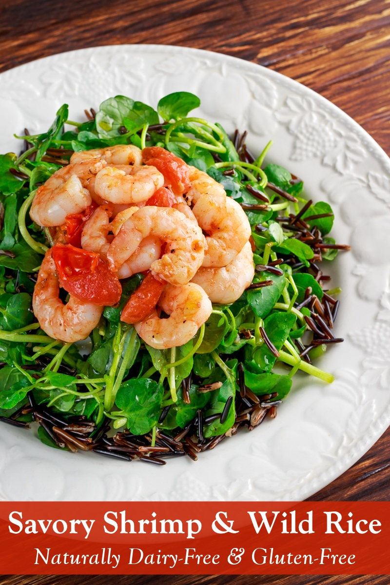 Savory Shrimp over Wild Rice Recipe with Warm Spanish Influence - naturally Dairy-Free, Gluten-Free, Soy-Free, and Nut-Free Meal