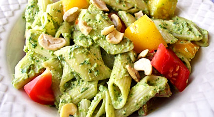 Creamy Vegan Pesto Pasta Salad Recipe - Oil-free and Lower in Fat. Gluten-Free optional.
