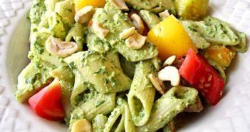 Creamy Vegan Pesto Pasta Salad Recipe - Oil-free and Lower in Fat. Gluten-Free optional.
