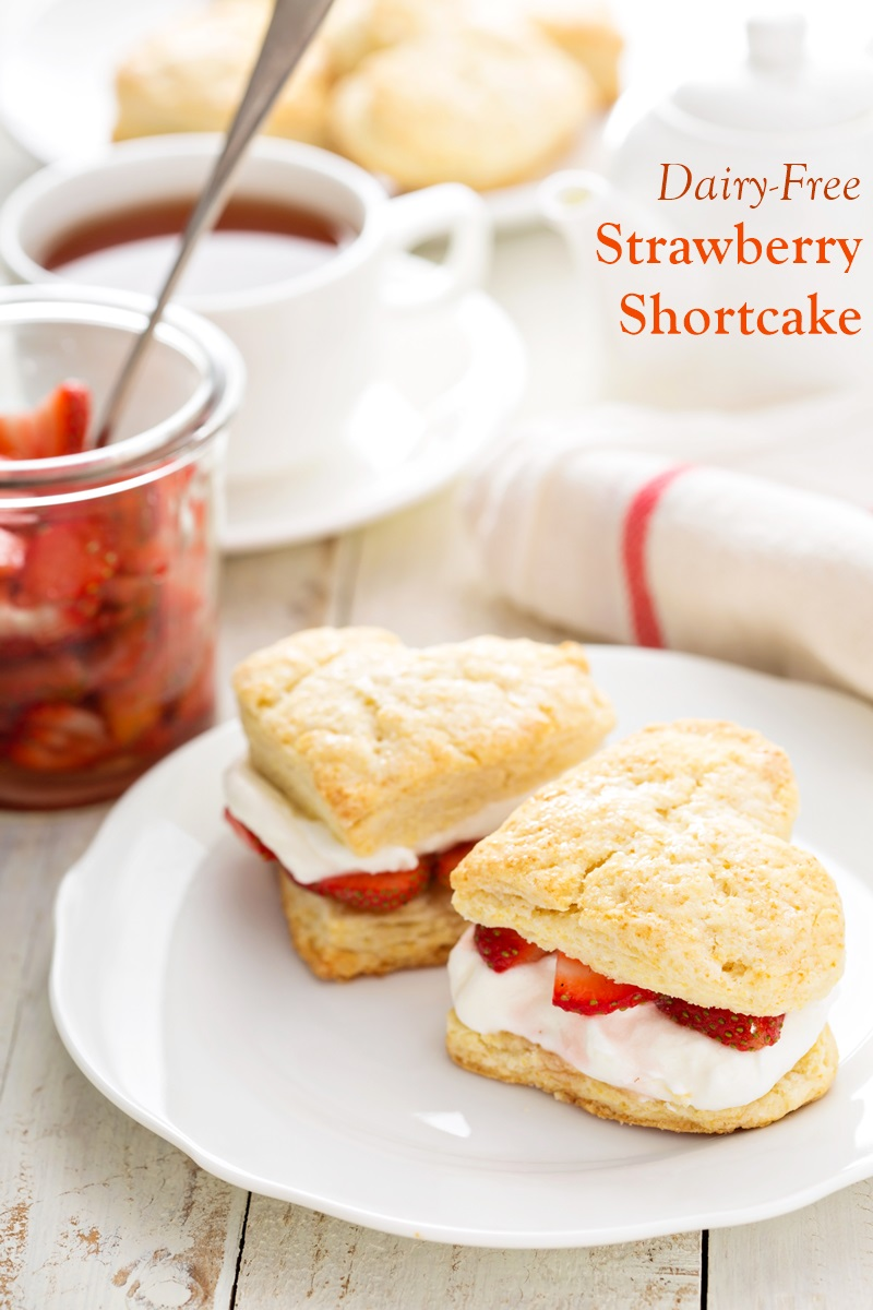 Dairy-Free Strawberry Shortcake Recipe Made in a Pan or Roll & Cut Style. Just happens to be vegan, nut-free and soy-free too. Recipe includes classic and balsamic strawberry options.