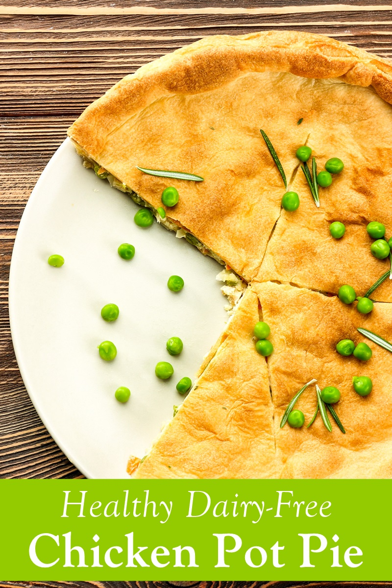 Healthy Dairy-Free Chicken Pot Pie Recipe with Flaky Whole Grain Crust