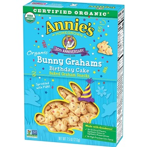 Annie's Organic Bunny Grahams Review - details on ingredients, allergens, nutrition and more! Pictured: Birthday Cake