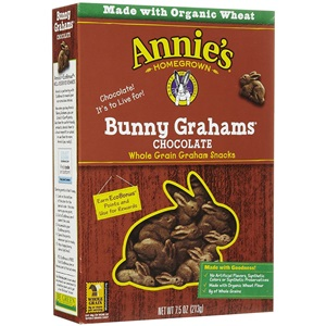 Annie's Organic Bunny Grahams Review - details on ingredients, allergens, nutrition and more! Pictured: Chocolate
