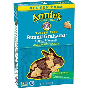Annie's Organic Bunny Grahams Review - details on ingredients, allergens, nutrition and more! Pictured: Gluten-Free Cocoa and Vanilla