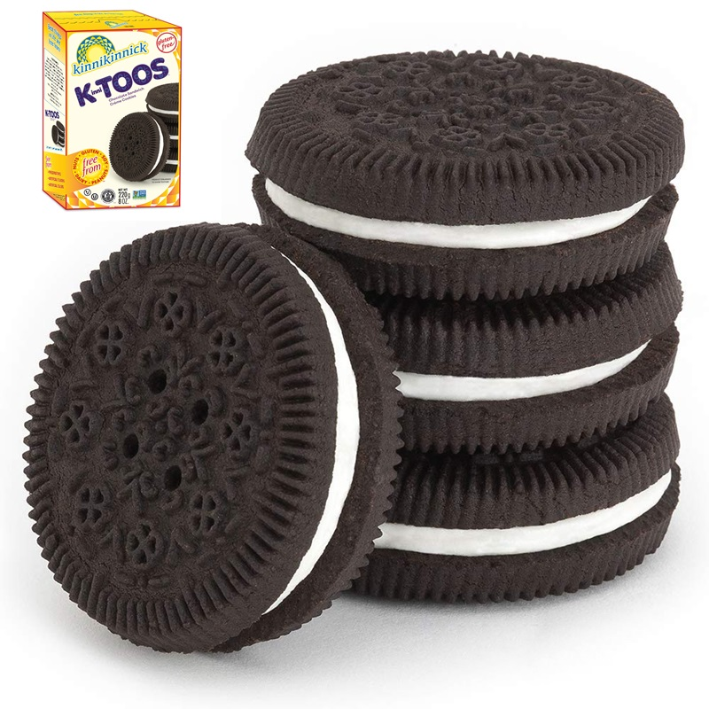 KinniToos Sandwich Creme Cookies Reviews and Information - Dairy-Fee, Gluten-Fee, Nut-Free, and Soy-Free. Pictured: Chocolate