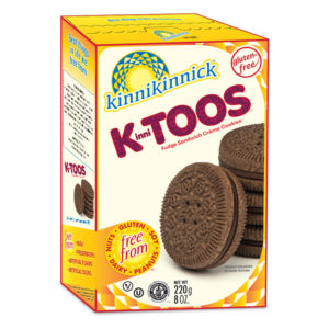 KinniToos Sandwich Creme Cookies Reviews and Information - Dairy-Fee, Gluten-Fee, Nut-Free, and Soy-Free. Pictured: Fudge