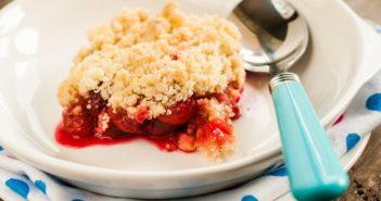 Cherry Crisp made with Fresh Cherries! A Dairy-Free, Plant-Based, Vegan Recipe