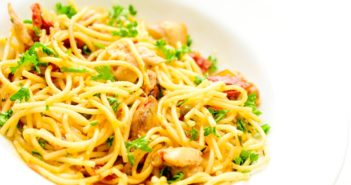 Sun-Dried Tomato Pasta Recipe with Chicken and Basil - Dairy-Free, Nut-Free, Soy-Free, and Gluten-Free Optional. Also a vegan option.