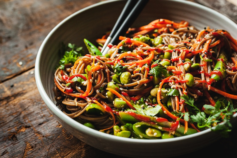 Plant-Based Spicy Soba Noodles Recipe with Rich Peanut Sauce - dairy-free with gluten-free and high-protein options