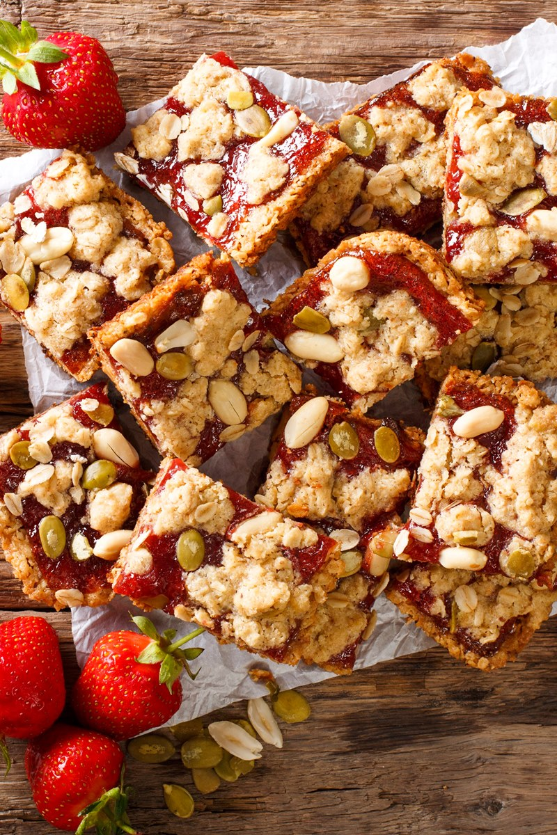 Peanut Butter & Jam Bars Recipe - Dairy-Free and Easy to adapt to your pantry and dietary needs. Options for egg-free and vegan, gluten-free, peanut-free, healthy, and more!