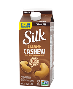 Silk Cashewmilk Reviews and Information - two unsweetened, one indulgent chocolate variety. Vegan, soy-free. Pictured: Chocolate