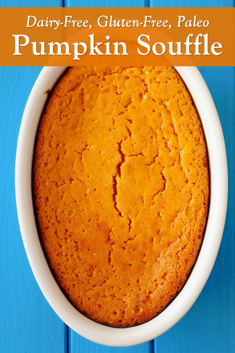 Paleo Pumpkin Soufflé Recipe - dairy-free, gluten-free, soy-free, and flourless! Lightly sweet and savory.