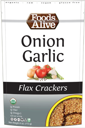 Foods Alive Flax Crackers - raw, vegan, dairy-free crackers made with only handful of ingredients and still bursting with flavor!