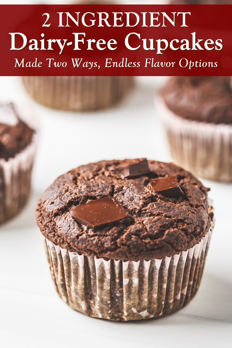 2 Ingredient Dairy-Free Cupcakes Recipe - Made 2 Ways, with Endless Flavor Options (also Egg-Free and Vegan-Friendly)