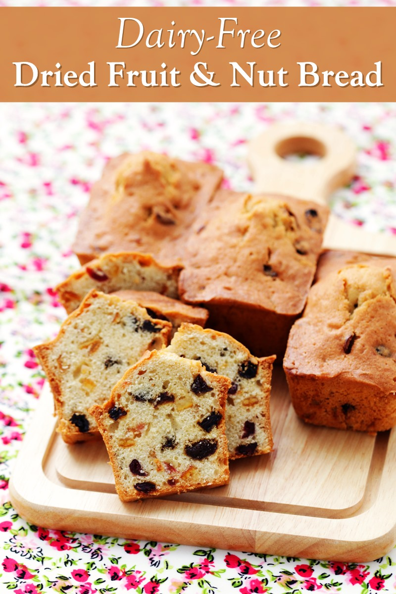 Dairy-Free Dried Fruit and Nut Bread Recipe - with Optional Orange Glaze. Includes mini loaf and vegan options.