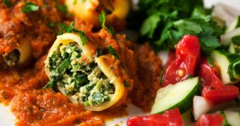 Vegan Stuffed Shells Recipe with Homemade Spinach-Tofu Ricotta - homemade, healthy, plant-based, nut-free, and optionally gluten-free!