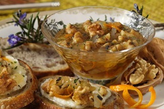 Bulgarian Spread for Bread - A Honey-Walnut Dip that's great for appetizers or a snack - dairy-free, gluten-free, optionally vegan