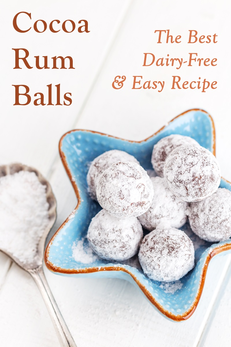 Dairy-Free Cocoa Rum Balls Recipe with Vegan and Gluten-Free Options. Perfect holiday treat. Great for make ahead and gifting.