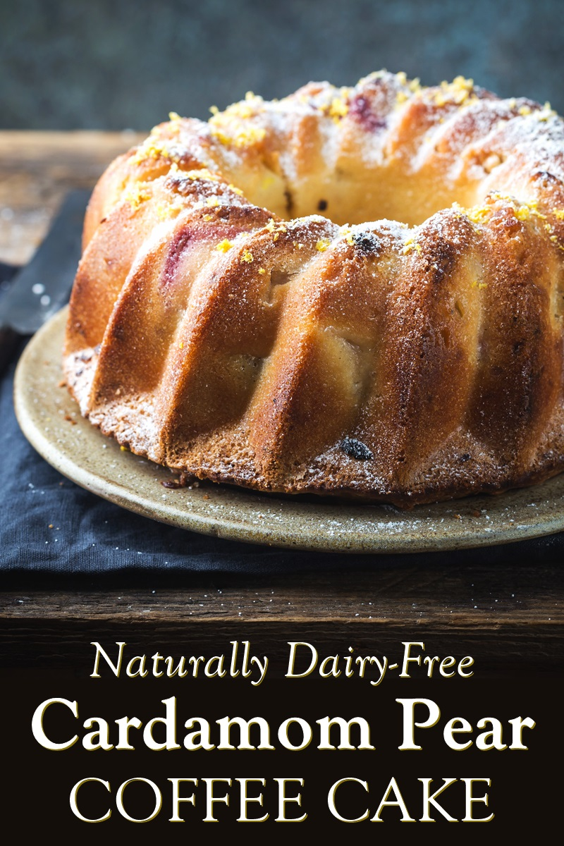 Cardamom Pear Cake Recipe - naturally dairy-free coffee cake / bundt cake