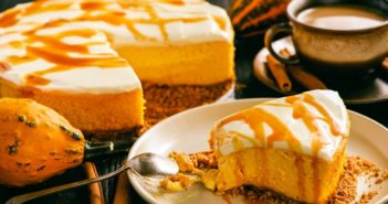 Vegan Frosted Pumpkin Pie Cake Recipe - like a pumpkin pie, meets a pumpkin cheesecake, meets a layer cake - it's amazing!