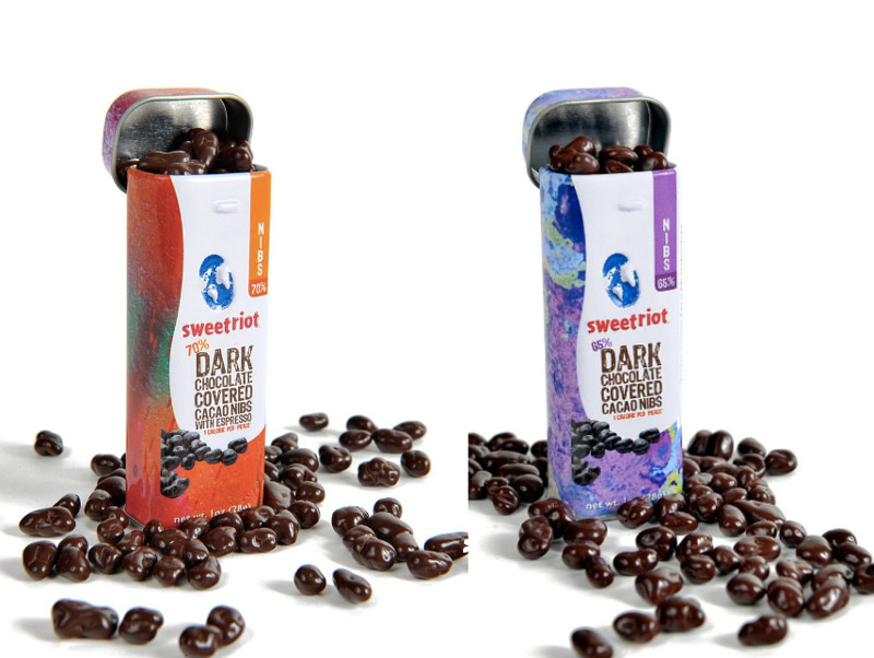 sweetriot dark chocolate covered cacao nibs