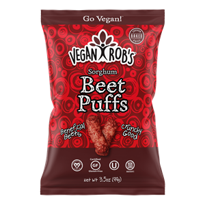 Vegan Rob's Puffs Reviews and Info - Dairy-Free Cheese Puffs, Superfood Puffs, and Vegetable Puffs with Healthy Benefits. Baked, not fried. Gluten-free, Soy-free. Pictured: Beet Puffs