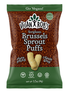 Vegan Rob's Puffs Reviews and Info - Dairy-Free Cheese Puffs, Superfood Puffs, and Vegetable Puffs with Healthy Benefits. Baked, not fried. Gluten-free, Soy-free. Pictured: Brussels Sprouts Puffs