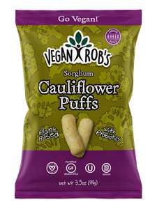 Vegan Rob's Puffs Reviews and Info - Dairy-Free Cheese Puffs, Superfood Puffs, and Vegetable Puffs with Healthy Benefits. Baked, not fried. Gluten-free, Soy-free. Pictured: Probiotic Cauliflower Puffs