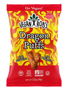 Vegan Rob's Puffs Reviews and Info - Dairy-Free Cheese Puffs, Superfood Puffs, and Vegetable Puffs with Healthy Benefits. Baked, not fried. Gluten-free, Soy-free. Pictured: Dragon Puffs