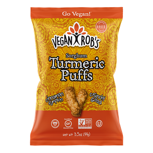 Vegan Rob's Puffs Reviews and Info - Dairy-Free Cheese Puffs, Superfood Puffs, and Vegetable Puffs with Healthy Benefits. Baked, not fried. Gluten-free, Soy-free. Pictured: Turmeric Puffs