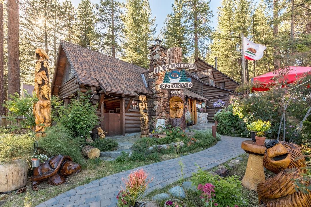 Soule Domain is located in Crystal Bay, Nevada in North Lake Tahoe. It's a picturesque restaurant with delicious dairy-free and vegan options.