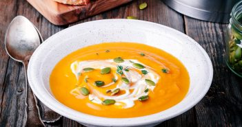 Creamy Roasted Butternut Squash Soup Recipe - dairy-free, vegan, and even paleo - a savory soup with natural underlying sweetness from the roasted vegetables